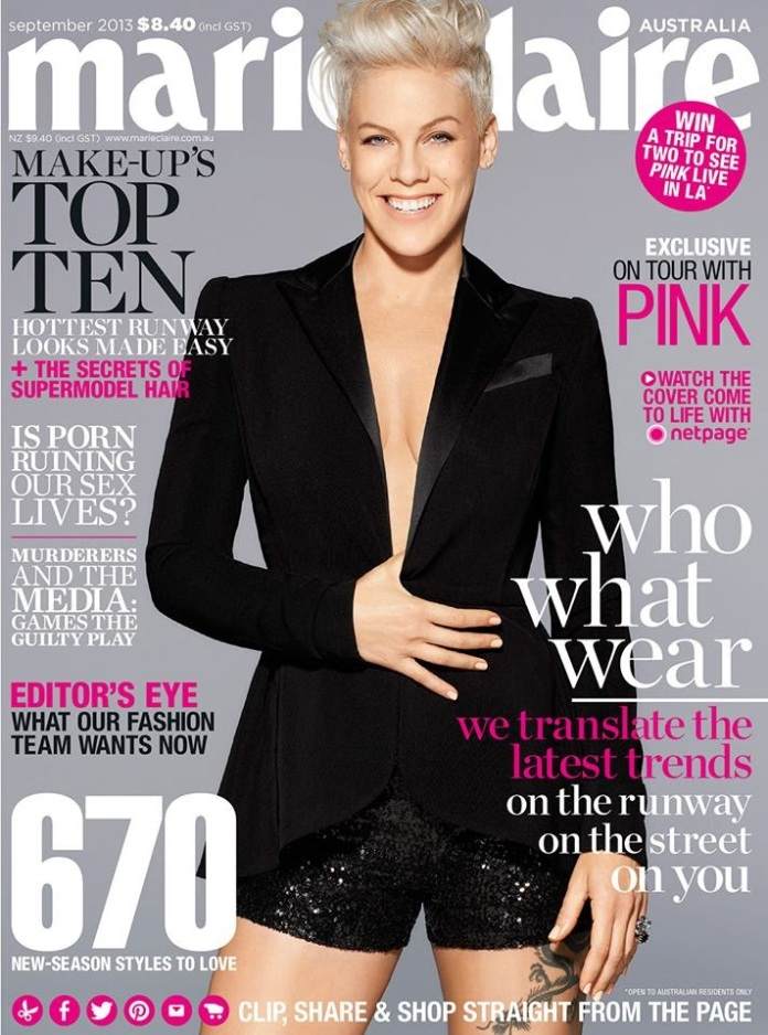 Pink on Cover for Marie Claire Australia September 2013