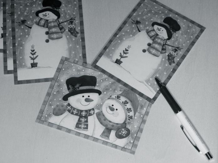 Julekort svart hvitt